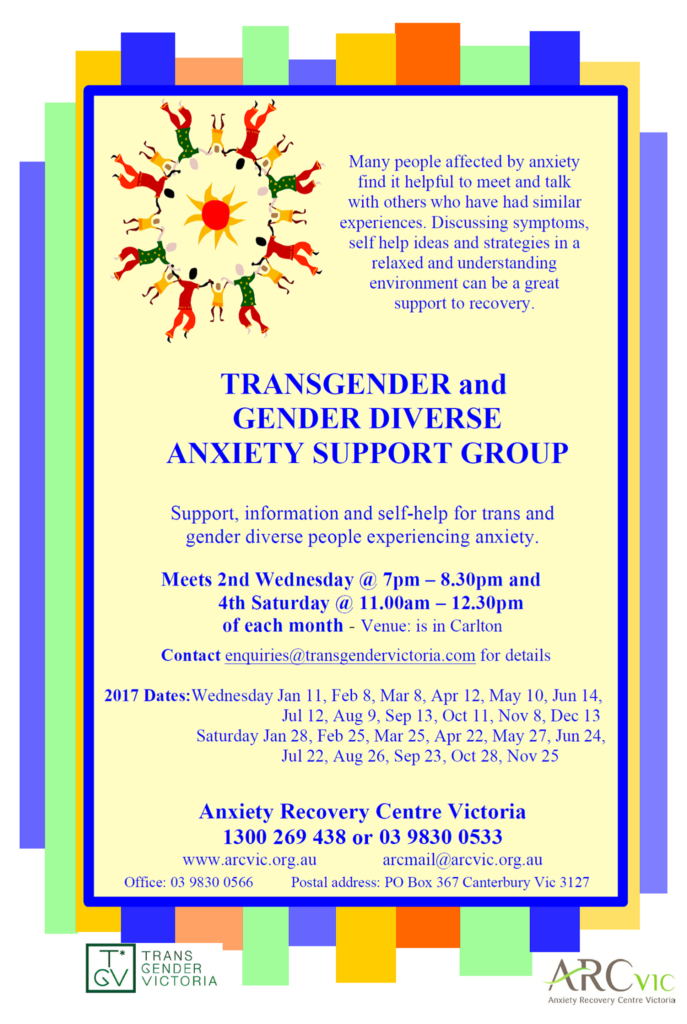 trans and gender diverse anxiety support groups