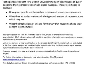 Queer Representation in Non-queer Museums Participants required